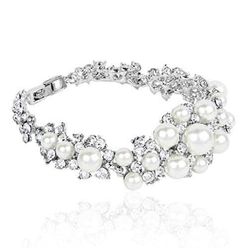 Lux Accessories Faux Pearl Pave Crystal Bridal Bride Wedding Bridesmaid Floral Flower Clasp Bracelet.