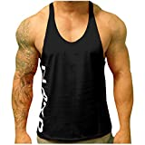 Men's Sports Tank Tops, Bokeley Men's Y-Back Muscle Tank Top Fitness Gym Bodybuilding Workout Sleeveless Tank Top (L, Black #2)