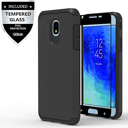 Samsung Galaxy J3 2018/J3 Achieve/J3 Star/Express Prime 3/Amp Prime 3/Sol 3/J3 V 3rd Gen/J3 Orbit/J3 Emerge 2018 Case with Tempered Glass Screen Protector,IDEA LINE Hybrid Slim Fit Cover - Black