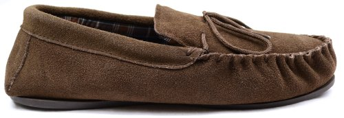 Mens Brown Suede Moccasin Slippers with Tartan Style Cotton Lining and Hard Sole. Size 9 iSdKX4azZR