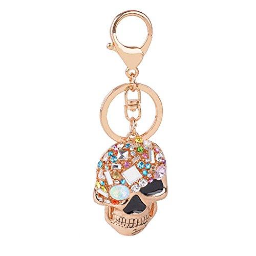 Butterfly Iron Rhinestone Skull Key Chain Keyring Charming Purse Bag Hanging (Charming Butterfly)