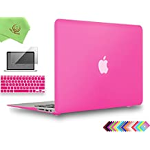 """UESWILL 3in1 Smooth Soft-Touch Matte Hard Shell Case Cover for MacBook Air 11"""" (Model: A1370/A1465) + Keyboard Cover and Screen Protector + Microfibre Cleaning Cloth, Hot Pink"""