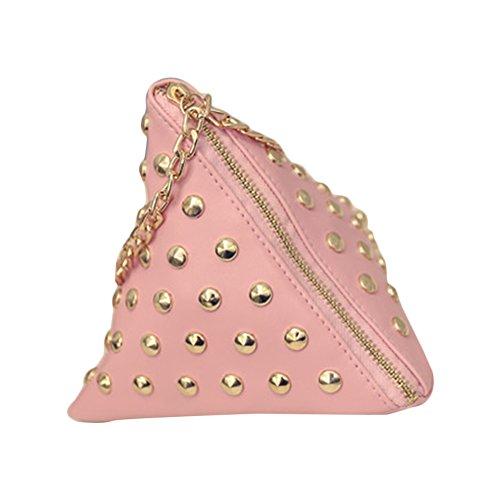 Main Sac Triangle Mini Embrayages Bandoulière Cuir Coin en à PU Rose Cute Chaîne avec Sac Rivet Hrph Petit U5q0xPXwW