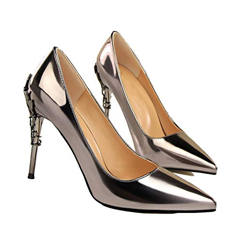 (Drew Toby Women Pumps Fashion Sexy Shallow Pointed Patent Leather Stiletto High Heels)