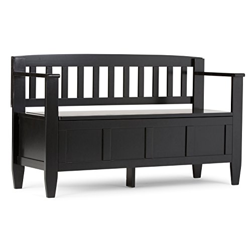 Slat Back Bench (Simpli Home Brooklyn Solid Wood Entryway Storage Bench, Black)