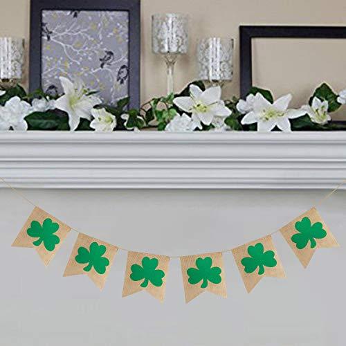 Rustic Shamrock Garland | Burlap Shamrock Garland Banner | St. Patricks Day Decorations | Burlap Clover Garland Banner | Irish Day Celebration Decor ]()