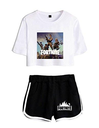 e Fortnite Donne nero2 ZIGJOY Crop Abbigliamento Shorts per e Bianco T Ragazze Shirt Completo Top UPwPq