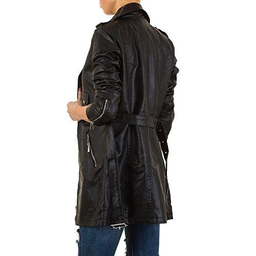 Lederoptik Trenchcoat Mantel Für Damen , Schwarz In Gr. 36 bei Ital-Design
