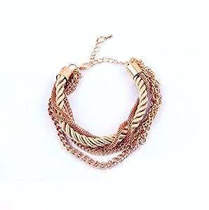 Bohemian Temperament Woven Gold Color Chain Braided Rope Bileklik Multilayer Bracelet Women Jewelry Accessories Pulseras Mujer