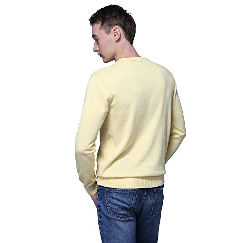 FASHIONMIA Mens Casual Solid Slim Fit Sweater Pullover Yellow M by FASHIONMIA (Image #3)