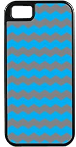 Blueberry Design Apple iPhone 5 Case iPhone 5S Case Zigzag Wave Design Sky Blue and Dark Grey - Ideal Gift