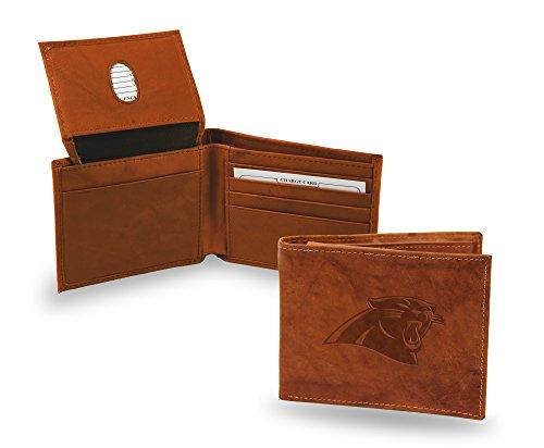 Carolina Panthers Wallet Premium Brown LEATHER BillFold Embossed Bifold ()