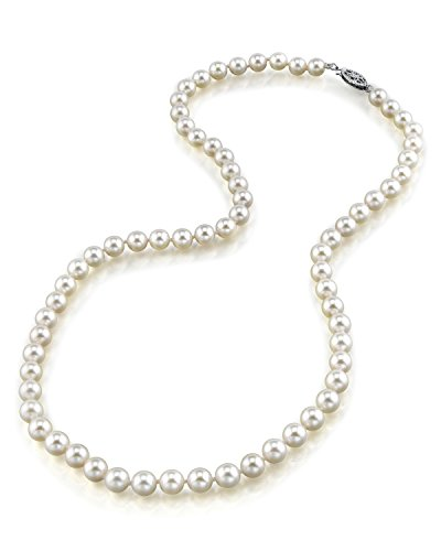 "THE PEARL SOURCE 14K Gold 4.0-4.5mm AAA Quality Round Genuine White Japanese Akoya Saltwater Cultured Pearl Necklace in 17"" Princess Length for Women"