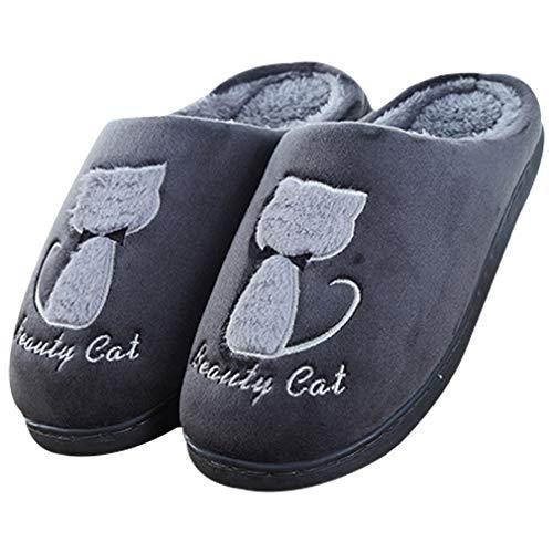 Zapatillas de espuma viscoelástica para mujer, para interior y exterior, antideslizantes, color rosa, Gris oscuro, US 9.5-10...