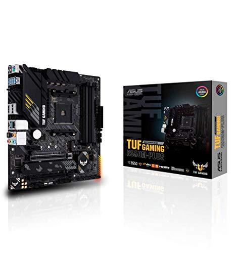 ASUS TUF Gaming B550M-PLUS, AMD B550 (Ryzen AM4) Micro ATX Motherboard (PCIe 4.0, Dual M.2, 10 DrMOS, DDR4 4400, 6, 2.5 Gb Ethernet, HDMI, DP, USB 3.2 Gen 2 Type-A and C, Aura Sync)