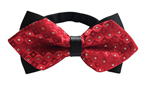 Diamond Patterned Silk Tie - Boy's Mens Bright Hot Red Bow Tie Silver Diamond Patterned Bowties for Groomsman