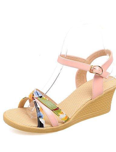 LFNLYX Chaussures Femme-Habillé / Décontracté / Soirée & Evénement-Bleu / Jaune / Rose / Rouge-Talon Compensé-Compensées / Bride de Cheville- , yellow , us6 / eu36 / uk4 / cn36
