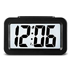 HENSE Creative Smart Nightlight Alarm Clock Bedside Desk Table Electronic Clock Battery Operated Mute Luminous Alarm Clock With Adjustable Light - Best Christmas Gift for Kids Students HA35 (Black)
