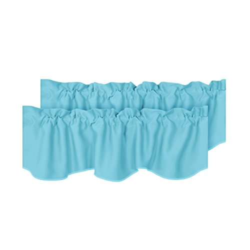 H.VERSAILTEX Energy Saving Solid Window Valances for Living Room Bedroom Rod Pocket Curtain Valances Aqua for Bathroom/Kitchen Windows, 2 Pack, 52 inch x 18 inch ()