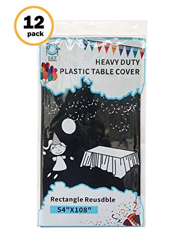 """D&Z 12 Pack Black Plastic Tablecloth Rectangle 54"""" X 108"""" Heavy Duty Disposable Table Cover for Party Birthday Wedding Thanksgiving Christmas"""