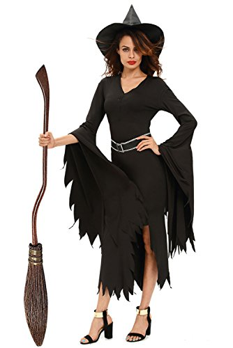 [Cfanny Women's Gothic Glamour Witch Halloween Costume,Black,Small] (2016 Womens Halloween Costumes Diy)