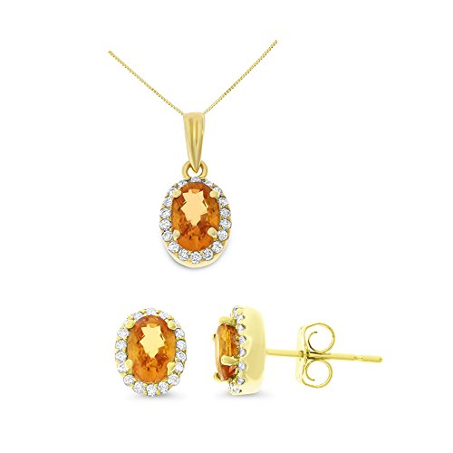 14K Yellow Gold 2.02CTW Genuine Orange Sapphire and Diamond Earrings + Pendant With Square Box Chain