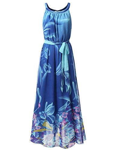 Bohemian Queen Chiffon Halter Maxi Dress With Plus Size BLUE L