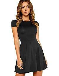 Women's V Back Fit and Flare Short Sleeve Stretchy Short Swing Mini Basic Dress