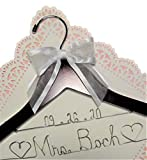 Bride Wedding Dress Hanger - Dark Wood or White Wood Hanger With Notches in Hanger Choice of 12 Bow Colors - Personalized Bride Name Silver Wire - With or Without Wedding Date, Bride Bridesmaid Gift