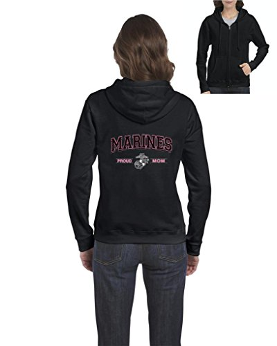 (Blue Tees USMC Marines Proud Mom US Marine Corps People Fashion Clothing Mothers Day Gifts Full-Zip Women's Hoodie Clothes Medium Black)