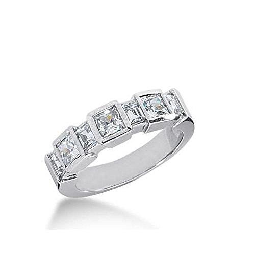 14k Gold Diamond Anniversary Wedding Ring 3 Princess Cut, 4 Straight Baguette Diamonds Total 1.68ctw 614WR237814k - Size 4 (Band Baguette Diamond Straight)