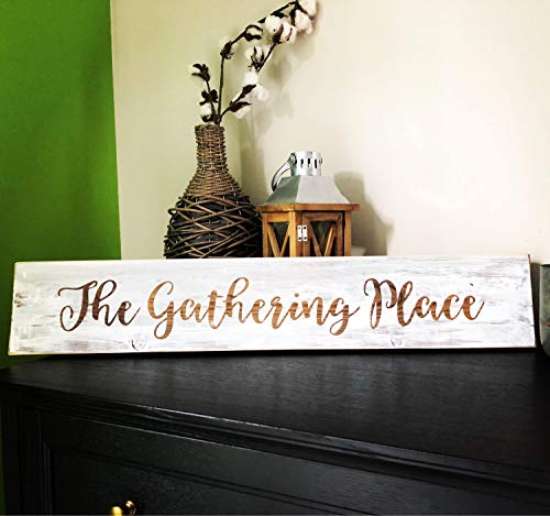(Boyce22Par Wooden Signs with Quotes The Gathering Place Wedding Gift Rustic Home Decor Couples Bride to Be Present Groom Farmhouse)