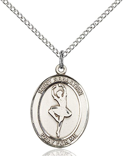 Sterling Silver Saint Sebastian Dance Medal Pendant, 3/4 Inch ()