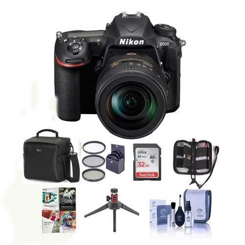 Nikon D500 DX-format DSLR Body with AF-S DX Nikkor 16-80mm f/2.8-4E ED VR Lens - Bundle with 32GB SDHC Card, Holster Bag, 72mm Filter Kit, Table Top Tripod, Memory Wallet, ()