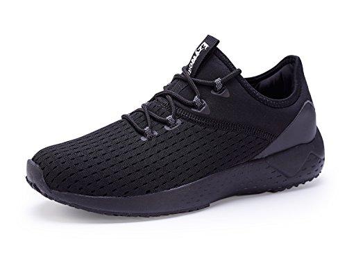 Sports Sneakers Men's Black Knit Black Footwear Lightweight Breathable Shoes Gym Walking Ezywear W0qZdwECq