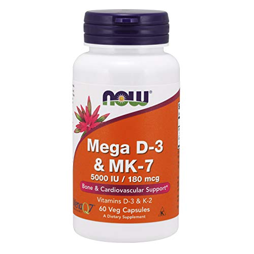 Now Supplements, Mega D-3 & MK-7 with Vitamins D-3 & K-2, 5,000 IU/180 mcg, Bone & Cardiovascular Support*, 60 Veg Capsules