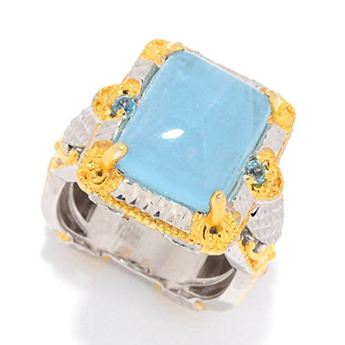 Michael Valitutti Palladium Silver Milky Aquamarine & Swiss Blue Topaz Cocktail Ring by Michael Valitutti