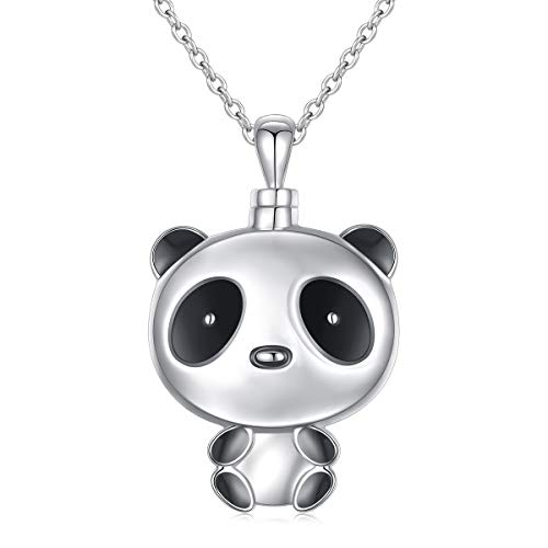 925 Sterling Silver Cremation Jewelry Memorial Ashes Keepsake Pendant Panda Urn Necklace for Women Girls, 20