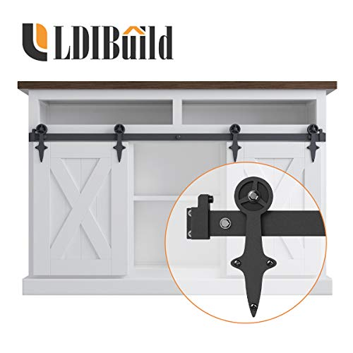 LD BUILD 4ft Mini Sliding Barn Door Hardware Kit, Unique Design Hanger, Easy Installation, Quality Roller, Perfect for Cabinets, TV Stands for 12″ Wide DoorPanel (Vintage Steering Wheel Style)