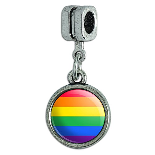 Rainbow Pride Gay Lesbian Contemporary Italian European Style Bracelet Charm Bead (Italian Rainbow Bracelet Charm)