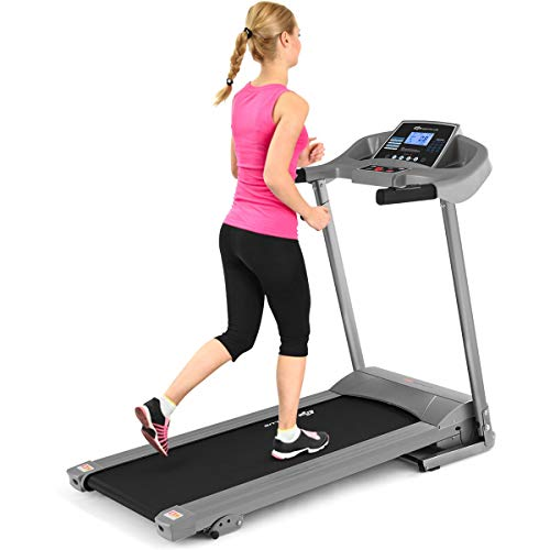 Goplus Electric Folding Treadmill with Incline, Walking Running Jogging Fitness Machine with Blue Backlit LCD Display for Home & Gym Cardio Fitness