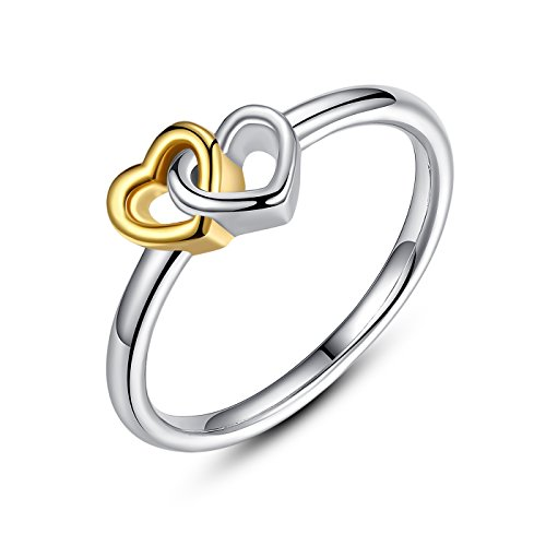 925 Sterling Silver Heart to Heart Ring Double Heart Fine Jewelry for Women (7) Fine Mens Ring