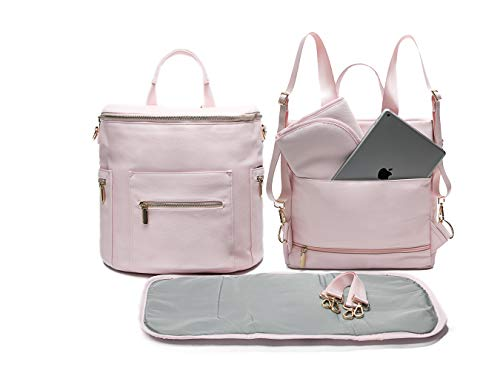 Leather Diaper Bag Backpack by Miss Fong, Diaper Backpack with Changing Pad, Diaper Bag Organizer,Stroller Straps and Insulated Pockets (Blush Pink)
