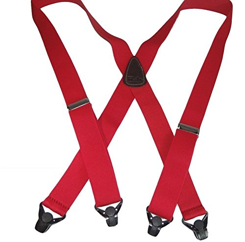 USA Made HoldUp Brand Ski-Ups series bright red X-back Suspenders with Patented Black Gripper Clasps in 1 1/2