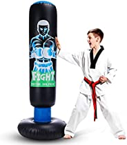 Inflatable Kids Punching Bag with Stand Freestanding Punching Bag with Bounce Back Tall 63 inch Fitness Boxing