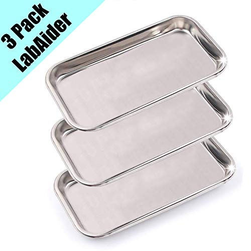 3 Pack Professional Medical Surgical Stainless Steel Dental Procedure Tray Thickening Lab Instrument Tools Trays -Flat Type ()