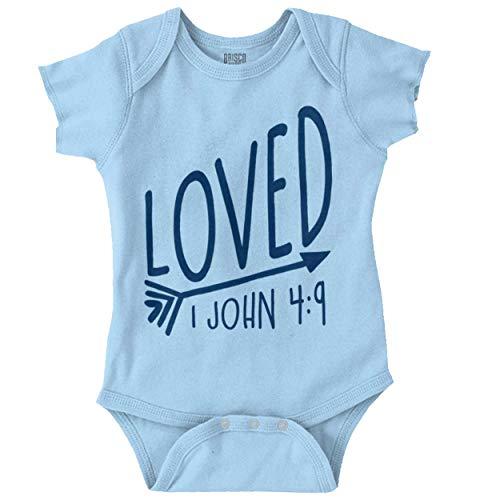Brisco Brands Loved Bible Verse Christian New Baby Gift Romper Bodysuit Light ()