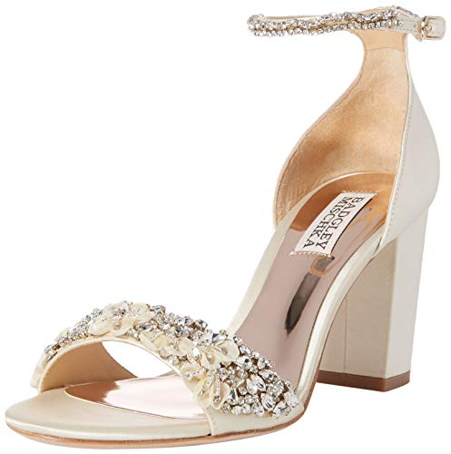 Badgley Mischka Women's Finesse Heeled Sandal, Ivory Satin, 8 M US