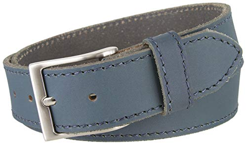 Made in Italy Casual Full Grain Leather Casual Jeans Belt (40, Blue) ()
