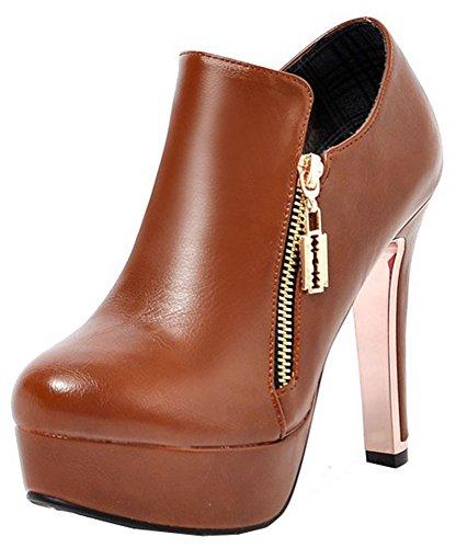runde mit Reißverschluss Block Damen Absatz kurze Plateau mit Stilvolle Knöchel Zehe hohem Stiefel hohe Easemax qBEHwE